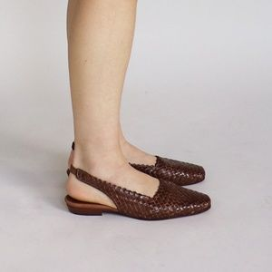 Vintage Woven Leather Square Toe Slingback Flats